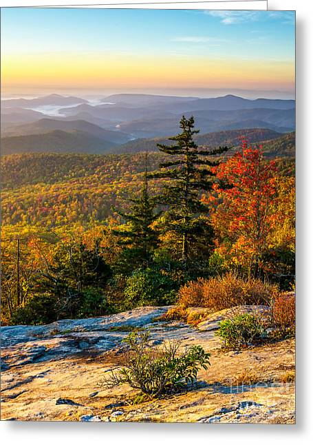 Height Greeting Cards - Blue Ridge morning Greeting Card by Anthony Heflin