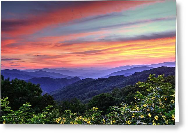 Southern Appalachians Greeting Cards - Blue Ridge Mountain Color Greeting Card by Carol R Montoya