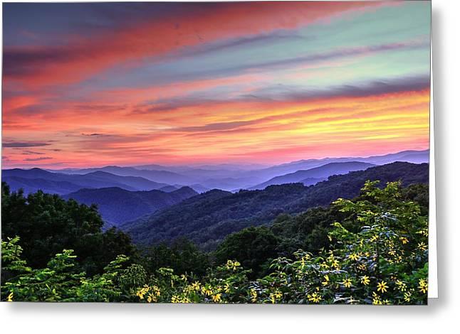 Southern Appalachians Greeting Cards - Blue Ridge Mountain Color Greeting Card by Carol R Montoya