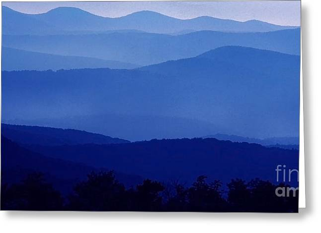 Shenandoah National Park Greeting Cards - Blue Ridge Mountain Panoramic  Greeting Card by Thomas R Fletcher