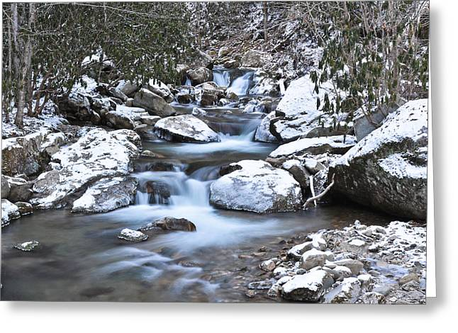 Franklin Tennessee Greeting Cards - Blue Ridge Mountain Stream Snow Greeting Card by Ryan Phillips