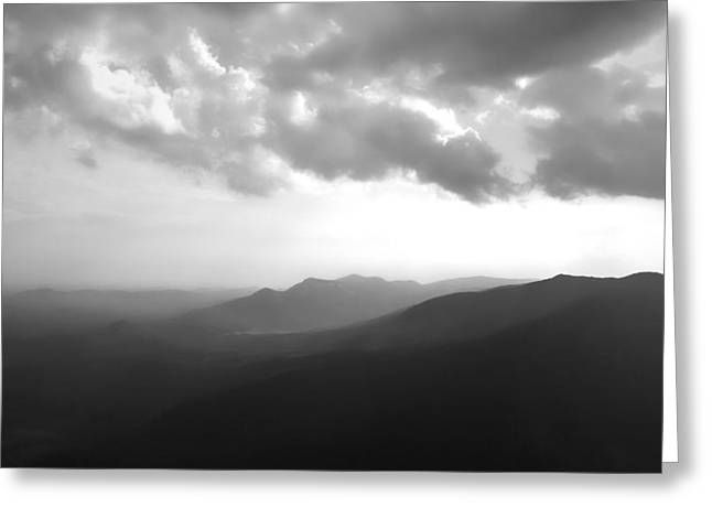 Sc Greeting Cards - Blue Ridge Mountains Caesars Head SC in Black and White Greeting Card by Kelly Hazel