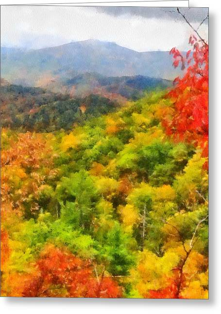 Gatlinburg Tennessee Greeting Cards - Blue Ridge Mountains Fall Color Greeting Card by Dan Sproul