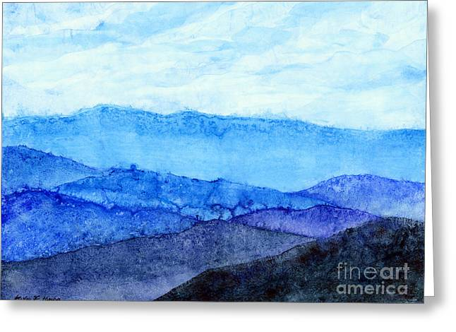 Yupo Greeting Cards - Blue Ridge Mountains Greeting Card by Hailey E Herrera