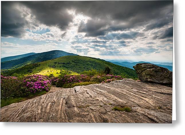 God Beams Greeting Cards - Blue Ridge Mountains Landscape - Roan Mountain Appalachian Trail NC TN Greeting Card by Dave Allen