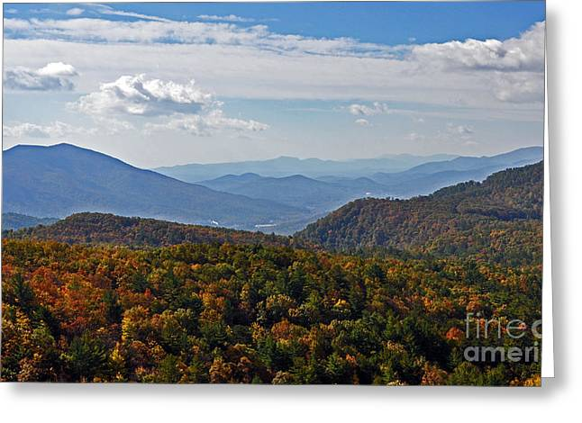 Blue Ridge Parkway In Fall Greeting Cards - Blue Ridge Mountains Greeting Card by Lydia Holly
