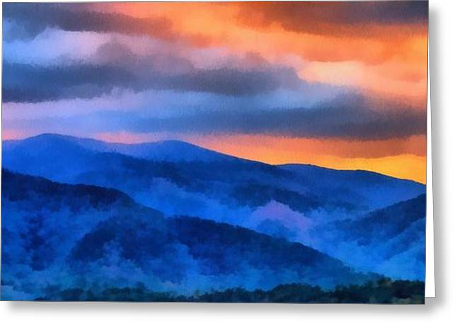 Gatlinburg Tennessee Greeting Cards - Blue Ridge Mountains Sunrise Greeting Card by Dan Sproul
