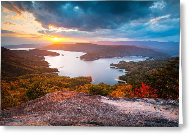 Western North Carolina Greeting Cards - Blue Ridge Mountains Sunset - Lake Jocassee Gold Greeting Card by Dave Allen