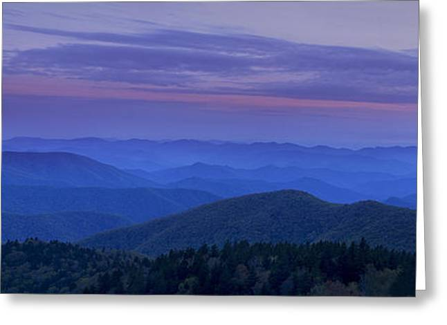 Blue Ridge Mountains Greeting Cards - Blue Ridge Panorama at Dusk Greeting Card by Andrew Soundarajan