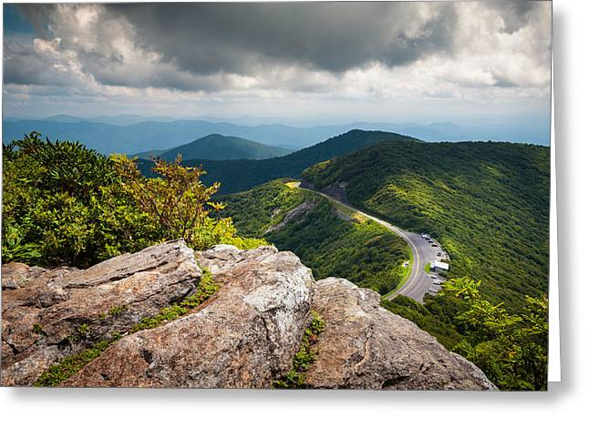 Asheville Nc Greeting Cards - Blue Ridge Parkway - Asheville NC Craggy Gardens Overlook Greeting Card by Dave Allen