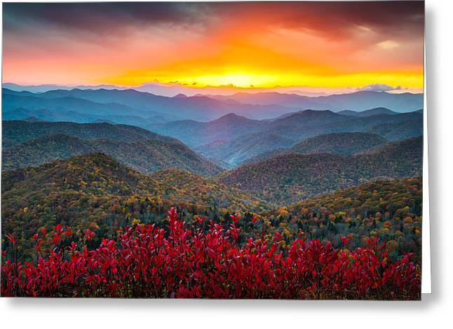 Blue Mountains Red Greeting Cards - Blue Ridge Parkway Autumn Sunset NC - Rapture Greeting Card by Dave Allen