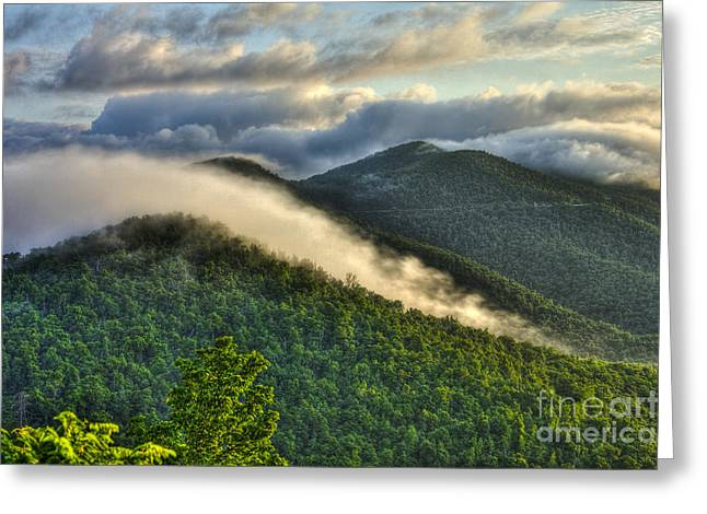 Jackson County Greeting Cards - Blue Ridge Parkway Cloud Waves at Sunrise Greeting Card by Reid Callaway