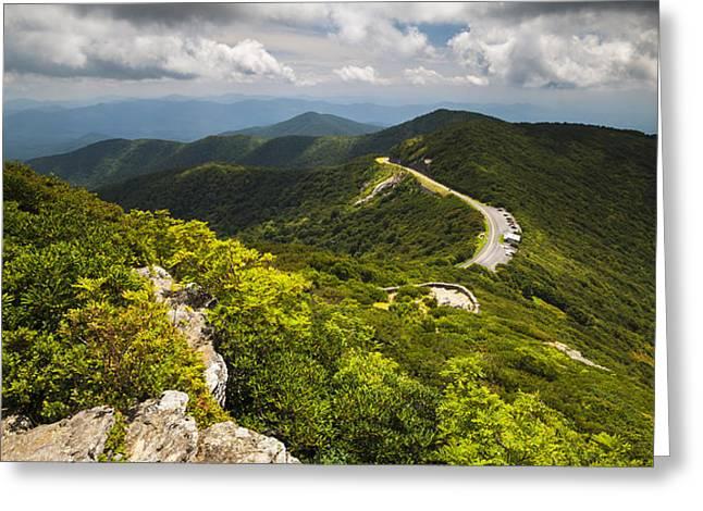 Blue Ridge Parkway Craggy Gardens Asheville NC - Craggy Pinnacle Greeting Card by Dave Allen