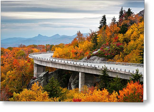 Western North Carolina Greeting Cards - Blue Ridge Parkway Fall Foliage Linn Cove Viaduct Greeting Card by Dave Allen