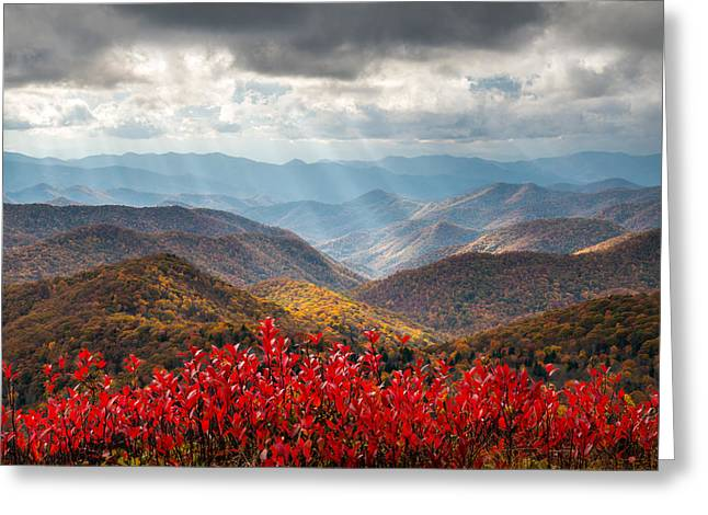 Light Rays Greeting Cards - Blue Ridge Parkway Fall Foliage - The Light Greeting Card by Dave Allen
