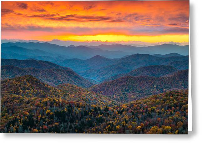 Smoky Greeting Cards - Blue Ridge Parkway Fall Sunset Landscape - Autumn Glory Greeting Card by Dave Allen