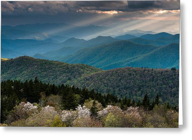 Southern Province Greeting Cards - Blue Ridge Parkway Great Smoky Mountain Overlook Greeting Card by Mark VanDyke
