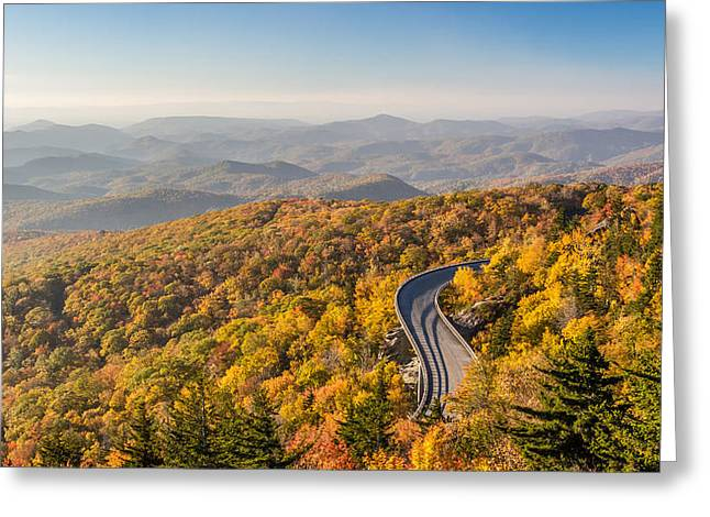 Scenic Drive Greeting Cards - Blue Ridge Parkway in Peak Autumn Colors Greeting Card by Pierre Leclerc Photography