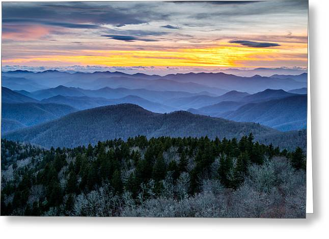 Asheville Nc Greeting Cards - Blue Ridge Parkway Landscape Photography - Hazy Shades of Winter Greeting Card by Dave Allen