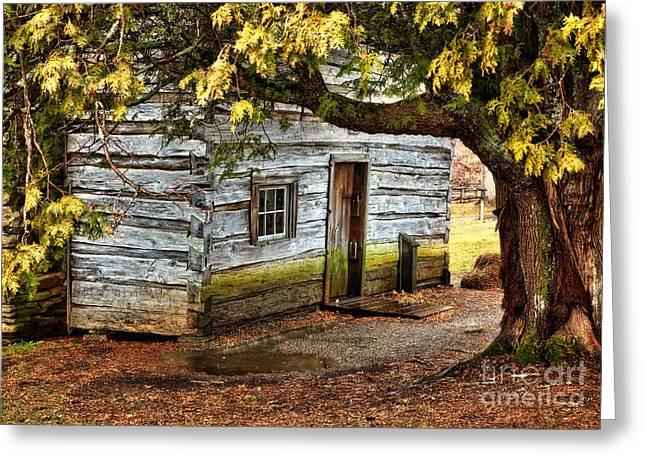 Blue Ridge Parkway - Mabry Mill Building in the Rain Greeting Card by Dan Carmichael