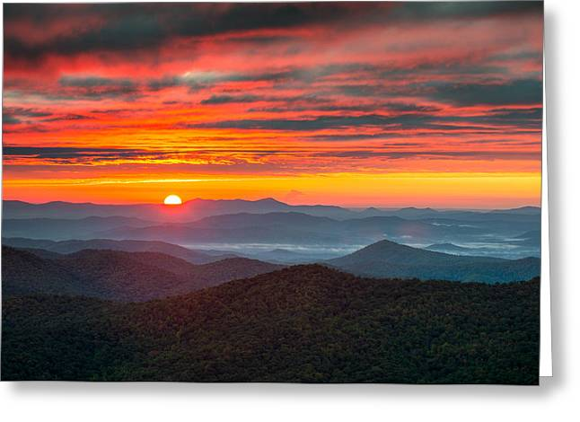 Smoky Greeting Cards - North Carolina Blue Ridge Parkway NC Autumn Sunrise Greeting Card by Dave Allen