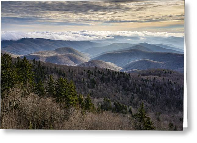 Layer Greeting Cards - Blue Ridge Parkway NC Scenic Winter Landscape - Serenity Greeting Card by Dave Allen