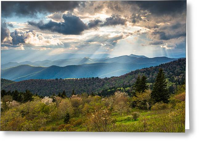 Peaceful Scenery Greeting Cards - Blue Ridge Parkway North Carolina Mountains Gods Country Greeting Card by Dave Allen