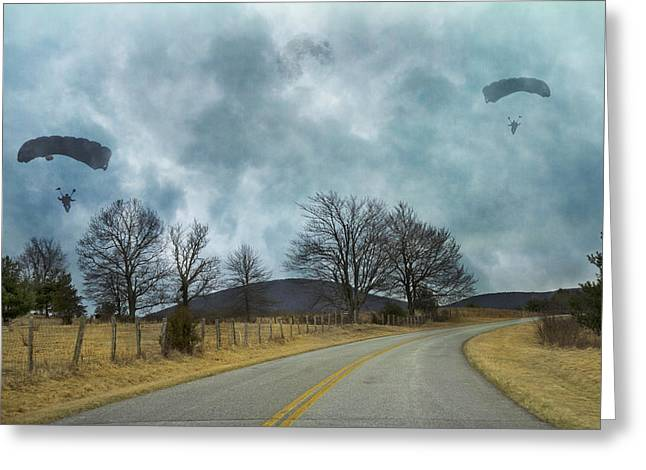 Blue Ridge Parkway Parachutist Greeting Card by Betsy C Knapp