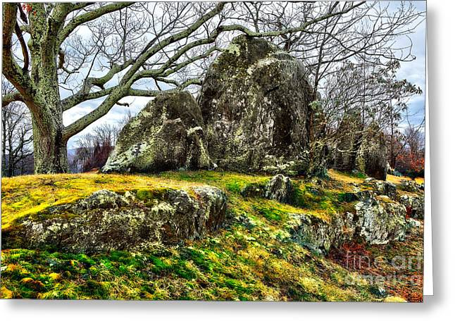 Abstract Mountains Framed Prints Greeting Cards - Blue Ridge Parkway Rocky Knob Moss Rocks Greeting Card by Dan Carmichael