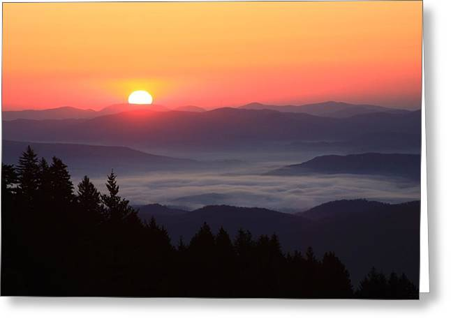 Blue Ridge Parkway Sea of Clouds Greeting Card by Michael Weeks