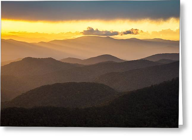 Gsmnp Greeting Cards - Blue Ridge Parkway Sunset - Appalachian Gold Greeting Card by Dave Allen