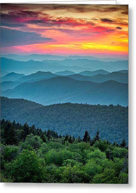 Great Smoky Mountains Greeting Cards - Blue Ridge Parkway Sunset - The Great Blue Yonder Greeting Card by Dave Allen
