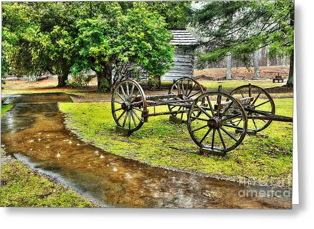 Lightning Photographer Greeting Cards - Blue Ridge Parkway Vintage Wagon in the Rain I Greeting Card by Dan Carmichael