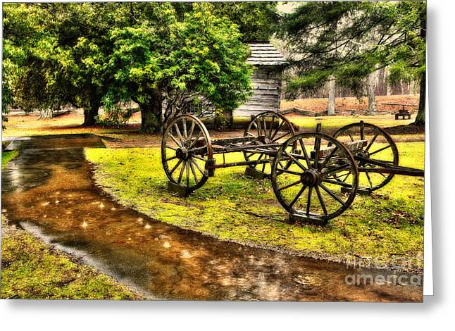 Lightning Photographer Greeting Cards - Blue Ridge Parkway Vintage Wagon in the Rain II Greeting Card by Dan Carmichael