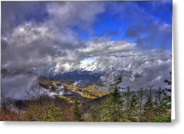 White Knob Mountains Greeting Cards - Up Among The Clouds Blue Ridge Parkway Waterrock Knob Greeting Card by Reid Callaway