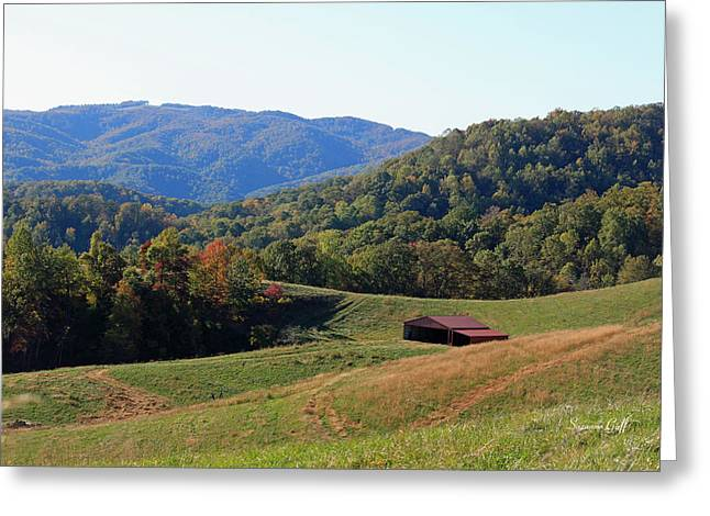 Red Roofed Barn Greeting Cards - Blue Ridge Scenic Greeting Card by Suzanne Gaff