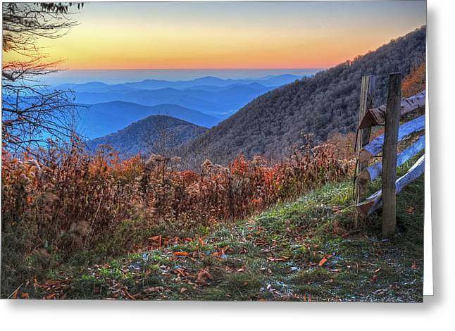 Split Rail Fence Greeting Cards - Blue Ridge Sunrise Greeting Card by Jaki Miller