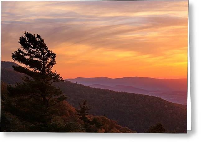Scenic Drive Greeting Cards - Blue Ridge Sunset Greeting Card by Francie Davis