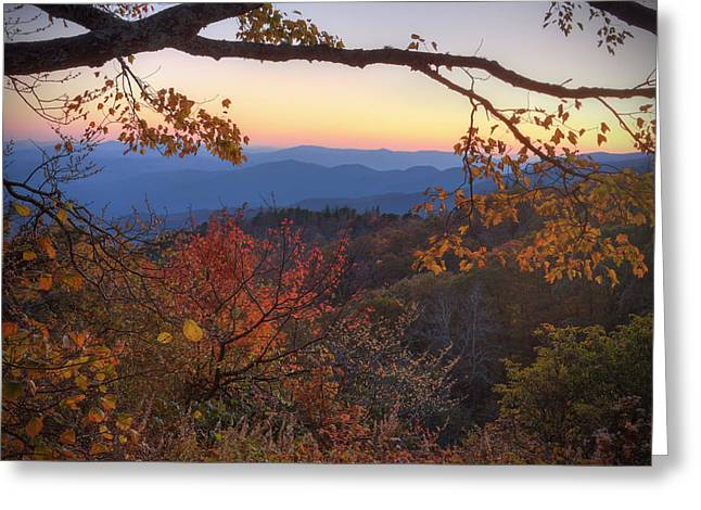 Fall Scenes Greeting Cards - Blue Ridge Sunset Greeting Card by Jaki Miller