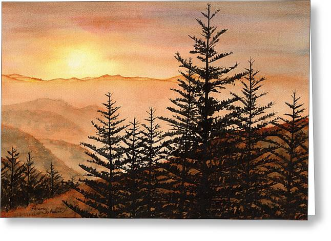 Smoky Paintings Greeting Cards - Blue Ridge Sunset Greeting Card by Penny Johnson