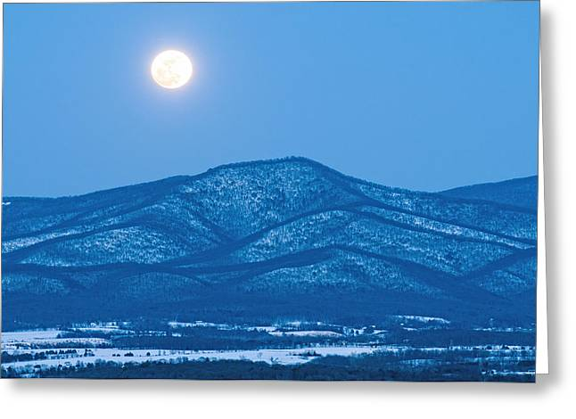 Snowy Night Night Greeting Cards - Blue Ridge Winter Moon Greeting Card by Lara Ellis