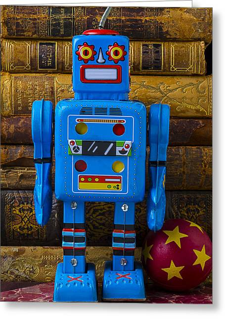 Plaything Greeting Cards - Blue robot and books Greeting Card by Garry Gay