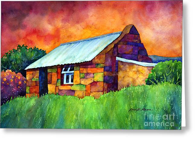 Vibrant Green Greeting Cards - Blue Roof Cottage Greeting Card by Hailey E Herrera