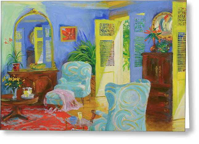 French Windows Greeting Cards - Blue Room, 20078 Oil On Board Greeting Card by William Ireland