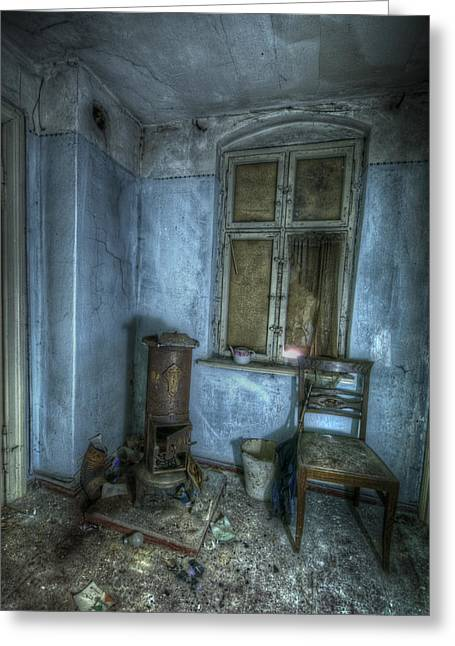 Eerie Greeting Cards - Blue room Greeting Card by Nathan Wright