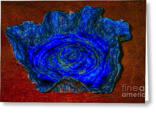 Impressionist Ceramics Greeting Cards - Blue Rose Dish Greeting Card by Joan-Violet Stretch