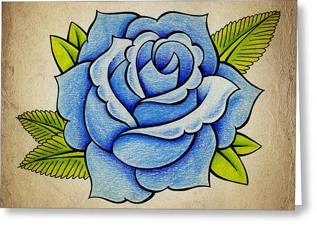 Drawing Color Pencils Drawings Greeting Cards - Blue Rose Greeting Card by Samuel Whitton