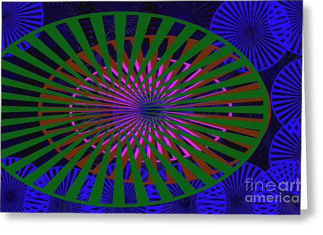 Digital Installation Art Greeting Cards - Blue Rounds and Spirals Greeting Card by Tina M Wenger