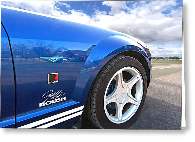 Ford Automobiles Greeting Cards - Blue Roush Mustang Greeting Card by Gill Billington
