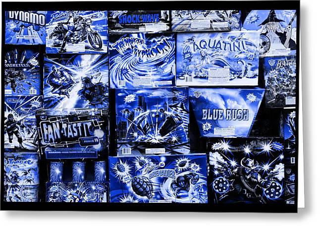 Pyrotechnics Greeting Cards - Blue Rush Greeting Card by John Stephens